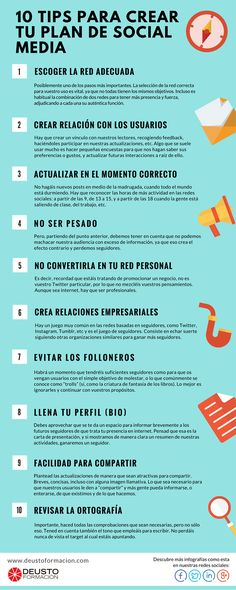 10 consejos para crear un Plan de Redes Sociales #infografia #infographic #socialmedia