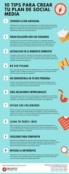 10 consejos para crear un Plan de Redes Sociales #infografia #infographic #socialmedia | TICs y Formación