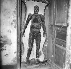 Un esqueleto en la Capella Sansevero, una antigua iglesia italiana que se ha convertido en un museo privado de la petrificación anatómica. El esqueleto se le dio una inyección antes de la muerte que de alguna manera conserva todas las venas, arterias y capilares. (Foto de Evans / Three Lions / Getty Images). alrededor de 1955