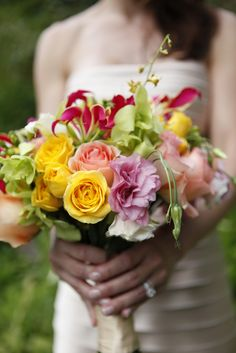 Fun multicolored wedding bouquet