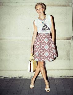 TDT t-shirt, Jonathan Saunders skirt, Prada bag, Lulu Frost necklace, Aldo Shoes, Hair by BLEACH LONDON