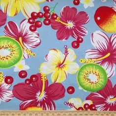 Hawaii tropical hibiscus flower kiwi fruit retro cotton fabric FQ | eBay