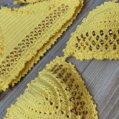 Crochet Bikini, Crochet Top, Mode Du Bikini, Crochet Clothes, Crochet Ideas, Bikinis, Rings, Crafts, Tops