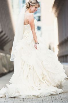 Ruffled wedding dress: http://www.stylemepretty.com/2013/07/16/raleigh-wedding-from-events-by-la-fete-michael-moss-photography/ | Photography: Michael Moss Photography - http://michaelmoss.com/