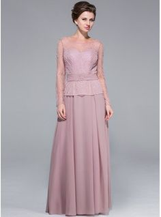 A-Line/Princess Scoop Neck Floor-Length Chiffon Tulle Mother of the Bride Dress With Beading Sequins - $226