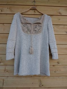 tunic with crochet  Free Pattern..FREE PATTERN ♥ 3500  FREE patterns to knit ♥ http://pinterest.com/DUTCHYLADY/share-the-best-free-patterns-to-knit/