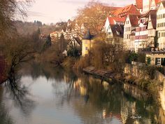 Tubingen, Germany. Such a gorgeous town that this view (in summer) hangs on our living room wall, painted by my husband's Grandma.