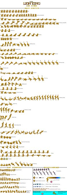 "Sprite Sheet - ""Lion King"" Video Game"