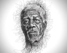 Celebrity Portraits Scribbling Without Lifting the Pen