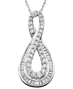 Diamond (1/2 ct. t.w.) Infinity Pendant Necklace in 14k White Gold | macys.com