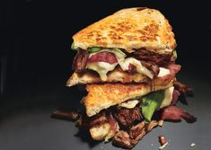 Grilled Cheese and Short Rib Sandwiches with Pickled Caramelized Onions and Arugula - Bon Appétit