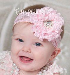 Pink Baby Headband,Newborn Headband, Lace Baby Headband, Beige Headband, Baby girl headbands, Couture baby headband, Baby Hair Bows