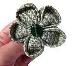 Silk fabric Kanzashi brooch handmade with green Japanese Shibori kimono fabric by taniabishopdesigns on Etsy, $30.00 USD