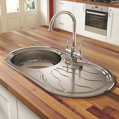 Pyramis Twig Kitchen Sink S/Steel 1-Bowl 850 x 450mm | Stainless Steel Sinks | Screwfix.com
