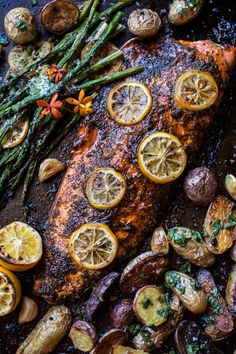 One Pan Lemon Salmon, Roasted Potatoes and Parmesan Asparagus - super simple, super tasty, one pan quick meal! From halfbakedharvest.com