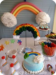 A Very Rainbow 4th Birthday Party | CatchMyParty.com