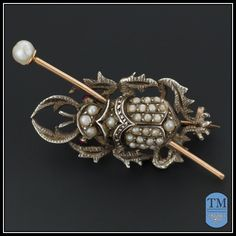 Antique Victorian Sterling Silver and 14k Gold Beetle Pin