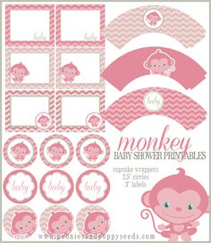 Free Baby Shower Printables: Pink Monkeys | Peonies and Poppyseeds
