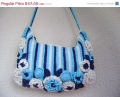 ON SALE Crochet tote bag made with handmade cotton... by Vestberet,
