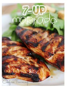 7-up marinade.....Ingredients: 2 cups of 7-up, 1 cup soy sauce, 1 Tbsp horseradish (optional), 1/2 tsp munched garlic, 1 cup oil.....Steps:  In a medium bowl, mix all ingredients together...Trim chicken and poke holes with a fork...Place chicken in a 9x13 pan and pour marinade over top and cover...Place in fridge...Marinade 8 hours or overnight...Grill chicken and eat up!!