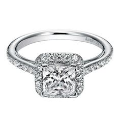 Princess Cut Halo with Thin Band Diamond Engagement Ring by Gabriel & Co. #ER6306W83JJ