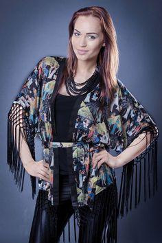 sexy boho  kaftan  kimono gown with  fringe vintage style new 10 12 14 or M
