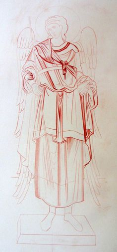 painting the lines of st Michael in monochrome
