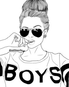 was busy thinking about boys Tumblr Girl Drawing, Cute Girl Drawing, Girly Drawings, Outline Drawings, Tumbler Drawings, Girl Outlines, Tumblr Outline, Girly M, Black And White Girl