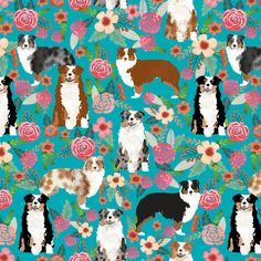 australian shepherd dogs floral cute aussie dog vintage flowers fabric turquoise dog fabric cute aussie dog gift fabric by petfriendly on Spoonflower - custom fabric Red Merle Australian Shepherd, Mini Australian Shepherds, Australian Shepherd Puppies, Aussie Puppies, Blue Merle, Puppy Bandana, Dog Wallpaper, Fabric Wallpaper, Love Your Pet
