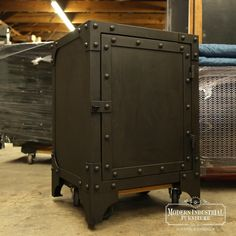 """Most order this """"StrongBox"""" cabinet with a clear coat finish over raw steel however we can also paint it an aged brown/black with red interior. It may take a little longer but its an option on the smaller pieces like this… and Go..."""