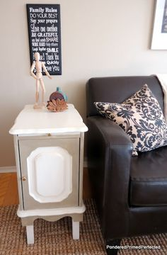 Pondered.Primed.Perfected: Painted End Table ~ a Makeover ~ 3rd Time's a Charm(er)