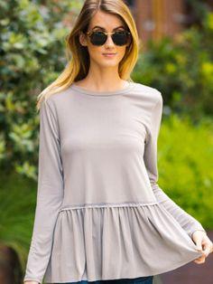 Long sleeve peplum top-grey