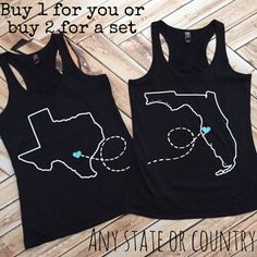 Best Friend Shirts BFF Long Distance Going Away gift matching shirts ANY STATE Racer Back Tank Top Work Plus size Texas Florida Bestie tanks