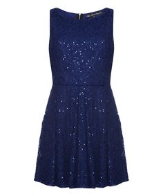 Loving this Blue Sequin Lace A-Line Dress on #zulily! #zulilyfinds