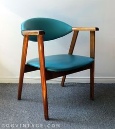 MID CENTURY MODERN VINTAGE AQUA / TEAL / BLUE WOOD ARMCHAIR LOUNGE CHAIR WITH FLOATING STUDDED BACK - SOLD