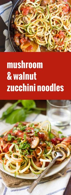Zucchini noodles are tossed in a quick tomato-basil sauce with savory mushrooms and crunchy walnuts to create this healthy and super-easy summer meal.