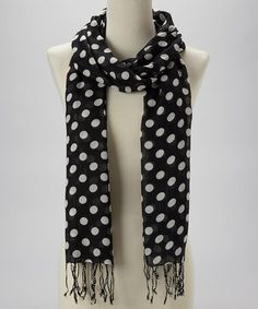 Take a look at this Black Classic Polka Dot Scarf by Kitara on #zulily today!