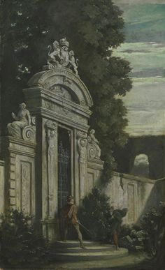 Moritz von Schwind, Nocturnal Duel at the Garden Gate Moritz Von Schwind, Chivalry, Garden Gates, Surreal Art, Animal Memes, Folklore, Architectural Drawings, Moonlight, Surrealism