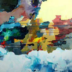 Abstract Painting, Original Modern Art, Blue, Gold, Brown, Yellow, Acryl, Malerei Gemälde auf Leinwand 80 x 80 cm - 161223
