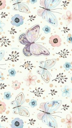 Artsy Wallpaper Iphone, Butterfly Wallpaper Iphone, Flower Background Wallpaper, Cute Wallpaper Backgrounds, Cellphone Wallpaper, Watercolor Wallpaper Iphone, Butterfly Background, Wallpapers Android, Simple Wallpapers