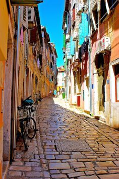 Cobble stone streets in Rovinj, Croatia