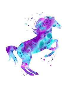 Horse print pink purple aqua horse watercolor by FluidDiamondArt