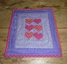Miniature hearts Shweshwe quilt