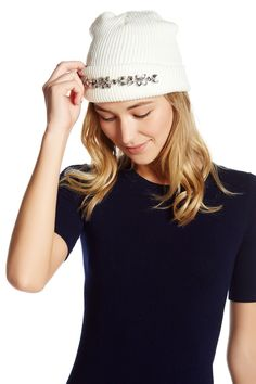 Faux Jeweled Cuff Beanie