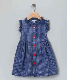 Any little fairy princess will flutter in this polka dot picnic dress. With super-soft material, resplendent ruffles and an easy button-up silhouette, this piece simply soars. Frocks For Girls, Little Dresses, Little Girl Dresses, Dresses Dresses, Baby Dresses, Dance Dresses, Fashion Dresses, Girls Dresses, Kids Frocks Design