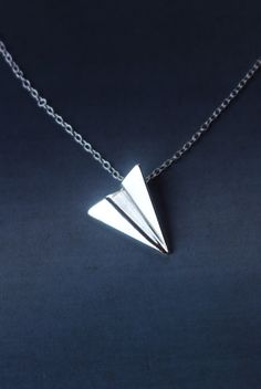 origami - paper airplane silver pendant handmade The pendant measures 19 mm x 15 mm the measurement of the chain can be 40 cm, 42 cm, 45 cm