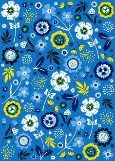 Folk Flowers (Blue) Art Print by Anna Deegan
