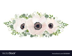 Flower Bouquet vector watercolor design element. Peach, pink white rose Anemone flower, wax eucalyptus green fern leaf, berry mix. Greeting lovely floral card elegant. All elements isolated editable. Download a Free Preview or High Quality Adobe Illustrator Ai, EPS, PDF and High Resolution JPEG versions.