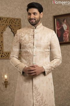 Buy Men's Sherwani-Designer Sherwani Pakistan for Wedding Online-Men's Wear With Zari, Embroidery, Patch Work In USA, UK, Canada, Australia Visit Now : www.NameerabyFarooq.com or Call / Whatsapp : +1 732-910-5427 Sherwani Groom, Mens Sherwani, Wedding Sherwani, Groom Dress, Men Dress, Work In Usa, White Churidar, Wedding Online, Pakistani Designers