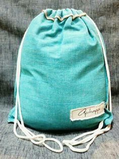 A unique handloom, Stringy- bag from Sri Lanka - in Beluga blue